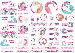 Unicorn Cartoon Labels